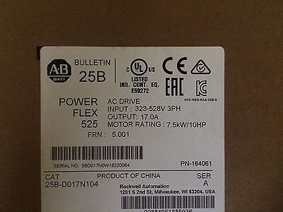 NEW SEAL 2016 Allen Bradley 25B-D017N104 /A PowerFlex 525 AC Drive 3PH 17A 10HP