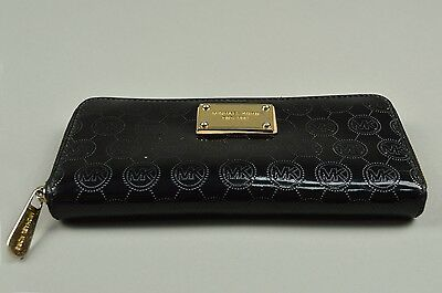 MICHAEL KORS Womens Wallet Clutch Zip Around Laque Leather Black Credit Card M