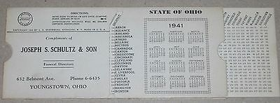 ***vintage 1941 Ohio Mileage Chart & Calendar***youngstown Funeral Advertising