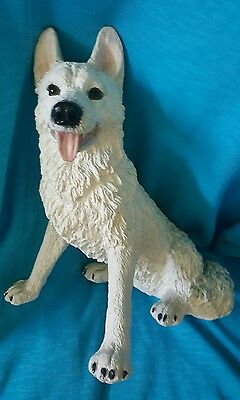 "10"" tall  12"" long white wolf sitting figure resin, toungue out"