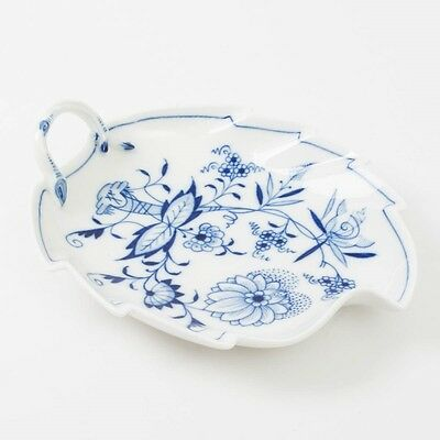 """Antique Meissen Germany Blue Onion Leaf Shaped Dish Handled Scalloped Edge 8.75"""""""