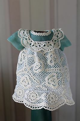 Chiffon and crochet doll dress and hat, hand crochet, antique dolls, new