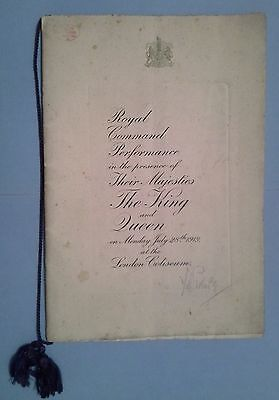 Royal Command Variety Performance Programme 1919 Signed Grock Harry Tate + +