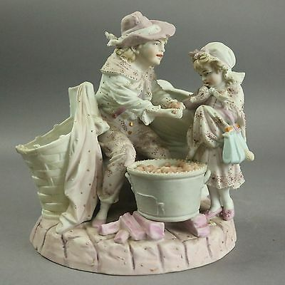Antique Bisque Porcelain Chelsea School Figural Group