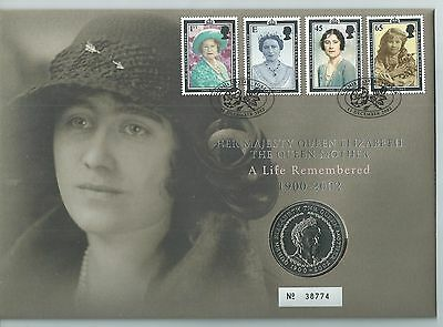 GB 2002 The Queen Mother - £5 Coin Cover - Ltd Ed No. 38774