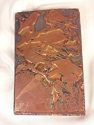 RARE ANTIQUE Printing Letterpress Copper Printers Block Birds SIGNED from Vienna