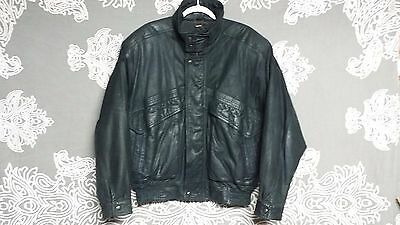 Saxony Men's Solid Black Vintage Leather Jacket Sz 40