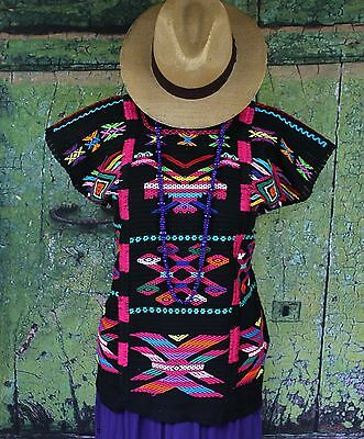 Black & Multi-Color Usila Huipil / Blouse, Hand Woven Oaxaca Mexico, Hippie Boho