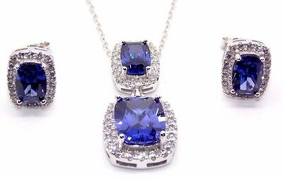 Sterling Silver Tanzanite And Diamond 11.75ct Emerald Cut Necklace Set (925)