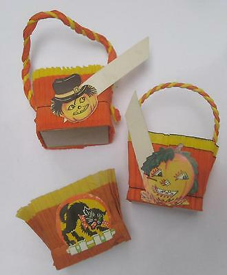 3 Vintage Halloween Nut Cups Double Crepe Jack O'Lanterns Cat Place Card unused