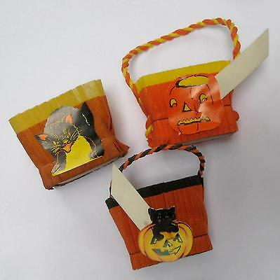 3 Dif Vintage Halloween Nut Cups Double Crepe Jack O'Lanterns Cats  Place Card