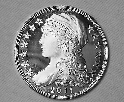 D.Carr  2011 UNA - 20 AMEROS - Capped Liberty Die 3 - 1 Troy Oz.999 Silver Round