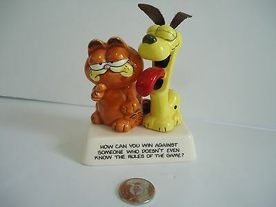 Vintage Garfield And Odie-Rare-Ceramic Figurine 1980's-Enseco-Cartoon-Gift