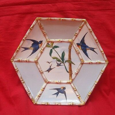 19th Century Porcelain Aesthetic E Bodley Plate Swallows Patt Staffordshire