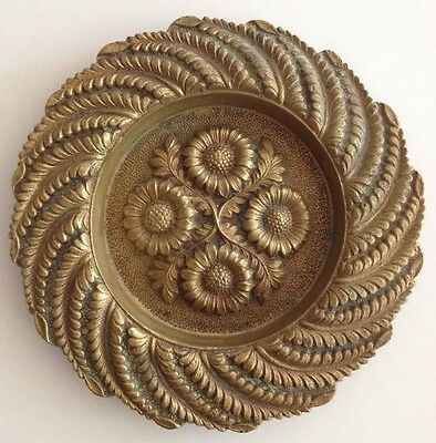Bronze Metal Tray Ring Pin Dish Antique Cast Metal Flowers Leaves Ferns Vintage