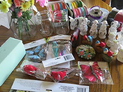 Lot Of Craft Supplies: Spools Of Ribbon, Silk Flowers And Much Much More