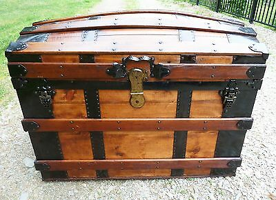 Estate ~ Antique Refinished Trunk DOME TOP TRUNK with interior tray