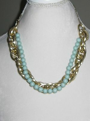 Beautiful Vintage Gold Tone Link Chain and Aqua String of Pearls