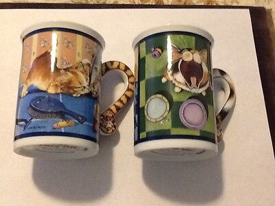 A pair of Danbury Mint Cat Coffee cups Great Gift