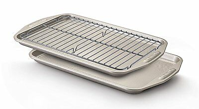 Circulon Nonstick Bakeware 3-Piece Cookie Pan Set Tray Wire Rack Warm Silver New