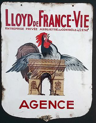 Vintage French Porcelain Sign Double Sided Insurance Paris  Shabby Chic Enamel