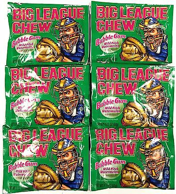910357 6 x 60g PACKETS OF BIG LEAGUE CHEW BUBBLEGUM, WILD PITCH WATERMELON! USA