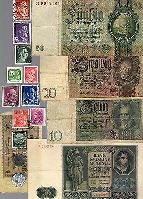 Nazi Germany Banknote, Coin And Stamp Set   # 75