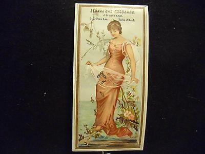 victorian trade card # 6508 - LADY IN PINK DRESS - BOOK MARK