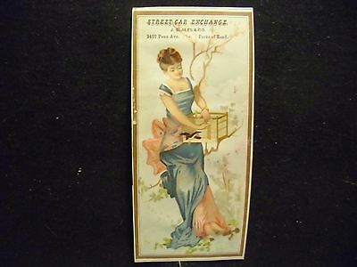 victorian trade card # 6510 - LADY IN BLUE DRESS - BOOK MARK