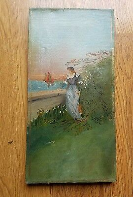 Antique VICTORIAN Oil Painting on Canvas French girl? Boats in water.NR
