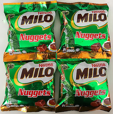 4 x 90g BAGS OF MILO NUGGETS CHOCOLATE COVERED CONFECTIONERY - MUST TRY YUMMY