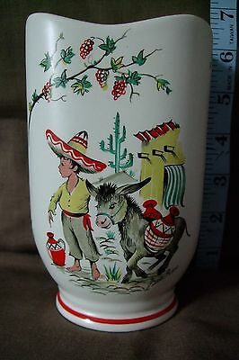 Crown Ducal Ware. 1950s Little Pedro Vase.Mexican boy and donkey.