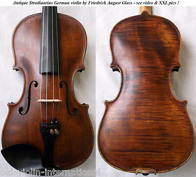 FINE OLD GERMAN 7/8 VIOLIN F. A. GLASS - video- ANTIQUE MASTER バイオリン скрипка 795