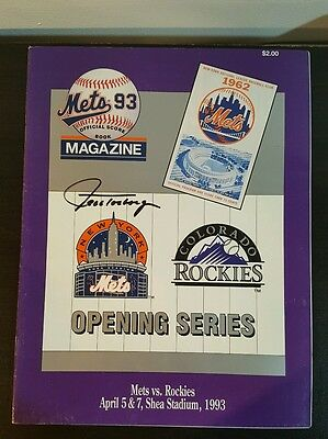 Jeff Torborg Auto 1993 Mets Vs Rockies Opening Series Program - Autograph