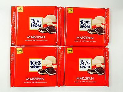 4 x 100g BARS OF RITTER SPORT CHOCOLATE - MARZIPAN - 100% FINEST MARZIPAN
