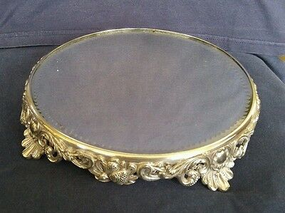 Antique Victorian Mirror Mirrored Wedding Cake Stand Silver Plated Strawberries