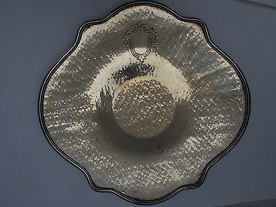 """Antique Sheffield Armorial Coat Arms Crest Shield Hand Hammered Footed Tray 11"""""""