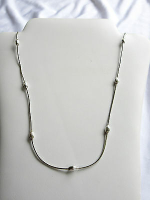 Vintage 2 Piece Set Sterling 925 Snake Chain W/oval Beads Necklace & Anklet