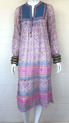 Vintage 70's Indian Cotton Floral Gauze Boho Festival Dress