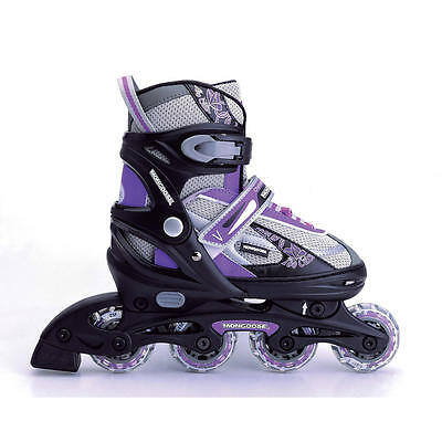 New Adjustable Size 5-8 Mongoose Challenge Series Purple/grey Rollerblade Skates