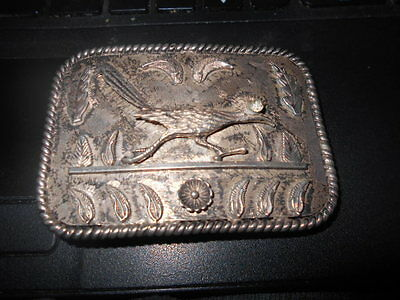 Vintage Hopi Road Runner Sterling Silver Belt Buckle-78.1 GRAMS-VERY NICE