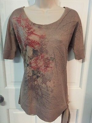 EUC Brown Floral Short Sleeve Motherhood Top Shirt Blouse Size Small