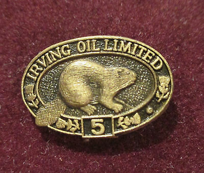 VINTAGE Irving Oil Ltd.  5 Year Service Pin With Beaver BIRKS Gas Station