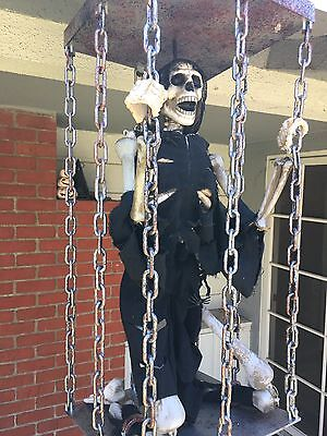 Rare Gemmy Halloween Animated Skeleton in a Cage 2ft Shakes Cage Lights & Talks