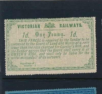 VICTORIA RAILWAY 1879 Large Format 1D green  with lattice background MINT og