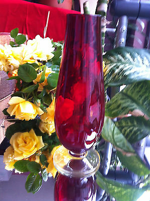RUBY RED GLASS BUD VASE WITH A CLEAR GLASS BASE Height 31 cm