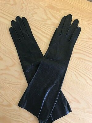 Vintage Christian Dior Size 7 Elbow Length Opera Leather Black Gloves New