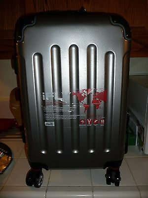 iFLY Carbon Racing Hard Sided Carry-On Luggage, Silver New