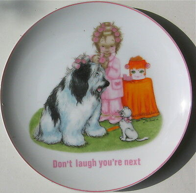 """Vintage Old English Sheepdog Collectors Plate """"don't Laugh You're Next"""""""