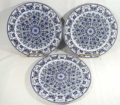 """3 Antique BOOTHS  T.B.& S.  Pottery  INDIAN ORNAMENT 10 1/4""""  DINNER PLATES  B&W"""